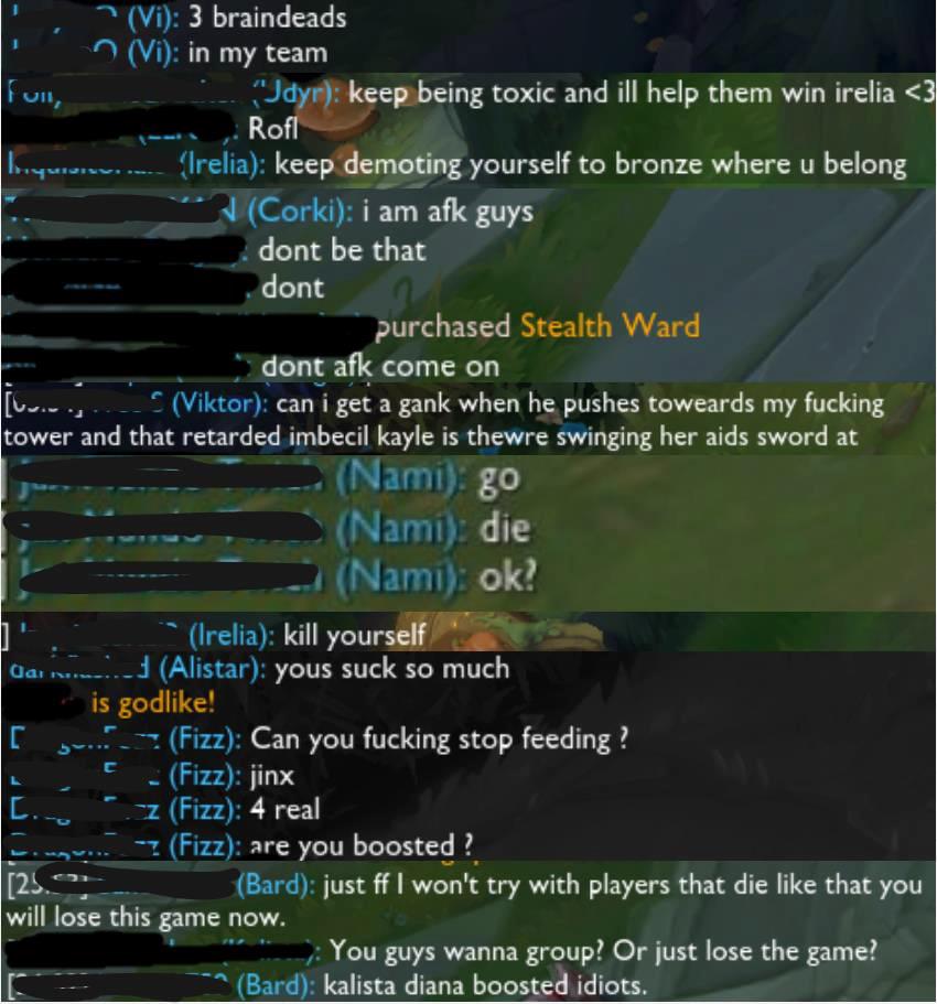 Showcasing of toxic behavior in League of Legends